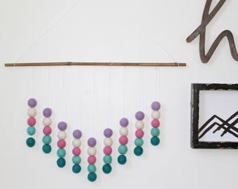 Felt Ball Wall Hanging, Pink Turquoise and Purple, Girls Bedroom, Pom Pom Wall Hanging, Nursery Decor, Custom Wall Hanging, Felt Balls