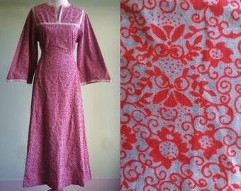 1960s 70s  Festival Dress - Vintage Maxi Dress - Bell Sleeves - Peasant Dress - Medium / Large