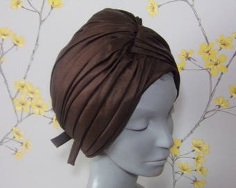 Vintage Ladies Turban Hat Deep Chocolate Brown Hat Pleated Turban Hat Connor Made In England