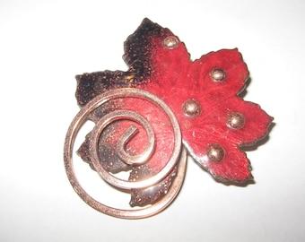 1950s Matisse Copper Enamel Pin Vintage Costume Jewelry #1077