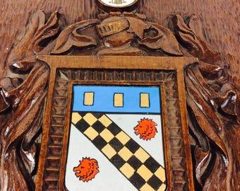 1960s MCM Family Crest Plaque Clan Coat Arm Family Crest Wall Plaque, Man Cave Bar, Mid Century