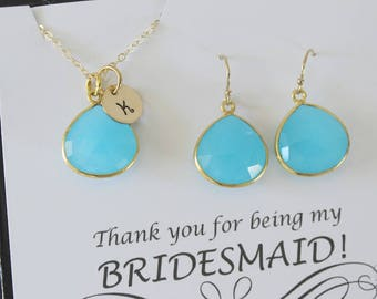 10 Blue Initial Bridesmaid Necklace and Earring set, Bridesmaid Gift, Light Blue Chalcedony, 14k Gold Filled, Monogram Jewelry, Personalized
