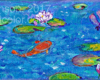 koi pond lily pads waterlilies dragonfly mini giclee print choose your size Peggy Johnson Everygoodcolor