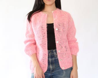VTG 60s Neon PINK hand knit Italian mohair wool sweater cardigan coat Jacket M