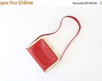 SALE Vintage 60s RED MOD gold frame handbag kelly purse shoulder bag