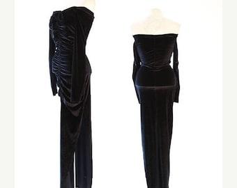 SALE Vintage 80s Black Velvet bodycon Dress S