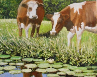Cows and a Pond original oil painting pasture canvas panel 11 X 14 inches
