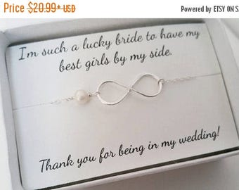 ON-SALE Bridesmaid Infinity Bracelet - Mother of the Groom and Bride Gifts, Best Friend Gift, Mom's Gift, Personalized Card, Jewelry Box
