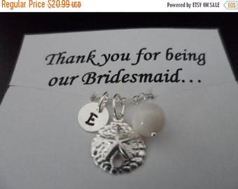 ON-SALE Personalized Sterling Silver Charm Bracelet, Sand Dollar, Maid of Honor, Bridesmaid Gift,  Beach Wedding Theme - Weekly Deals