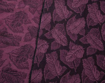 """4 Yards of 52"""" Vintage Jacquard Woven Fabric. Mulberry and Black. Damask Leaf Design. Medium Weight. Designer, Sewing, Apparel. 4214F"""