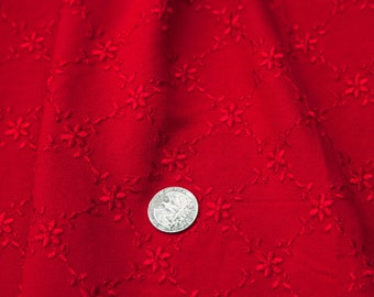 """3 1/4 Yards of Vintage 58"""" Embroidered Red Crepe Fabric. Flower, Diamond Design. Medium Weight. Sewing, Apparel. High Quality. Item 4028F"""