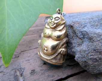Gold Buddha with Green Onyx Charm.