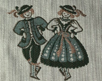 Vintage napkin. Folk napkin. Austrian dancing. Folk table linen. Austrian costumes. Folk dancing. Folk art. Coffee cup holder.