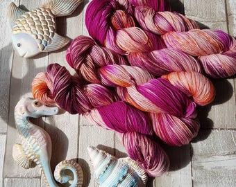 Sock Yarn, Hand dyed superwash sock yarn, merino and nylon sock yarn, pink sock yarn, variegated sock yarn, Sea Urchin Colourway.