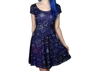 Starry Night Dress - Size 6 to 18-20 - Galaxy / Space / Stars Skater Dress - Party Dress - Dark blue - Dresses - Alternative Clothing