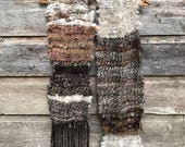 Brown wool scarf / hand woven scarf made of hand spun yarn / Wool alpaca scarf / Made in Canada / natural colors