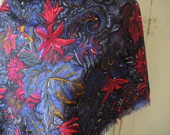 vintage rayon scarf fringed abstract floral 31 x 31 inches
