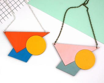 Statement Geometric Necklace - Large Triangle Circle Square Necklace - Wooden Jewellery - Contemporary - Orange - Pink - Shape Necklace