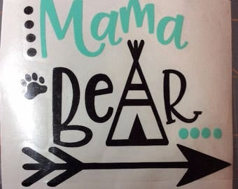 Mama bear decal, momma bear decal, mama decal, mom decal, mother's day, mama bear car decal, tumbler decal, gift for her, mug decal, 3.5 in