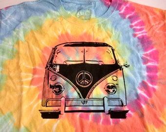 Summer of Love VW Bus Tie Dye- Unisex style t-shirt, hippie t-shirt, psychedelic t-shirt, beach t-shirt, VW Van, 1967 Love Bus, peace sign