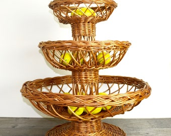 Vintage wicker fruit stand...huge 3 tiered rattan display stand...bohemian centerpiece...farmhouse...free pickup DC Area!