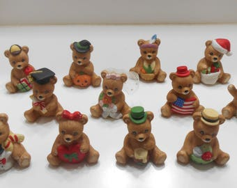Vintage 1970s Homco #1413 Calendar Bears--Twelve Bears--One For Each Month (25) Use As Cake Toppers