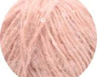 SALE Sequin Blend Yarn - Dito Paillettes - Peach Sequins