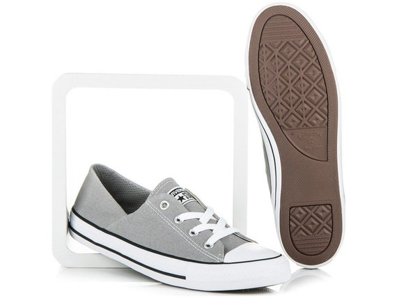 Gray Converse Coral Low Top Slip On Bride Wedding Grey w/ Swarovski Crystal Chuck Taylor Bling Rhinestone All Star Trainers Sneaker Shoes