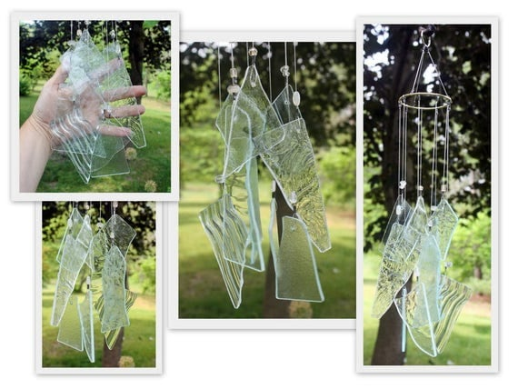 Stained Glass Windchime, Clear Textures