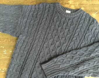 Blue Aran Knit Jumper