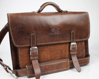 "Leather Messenger Bag,  Leather Briefcase, Leather shoulder bag, Macbook Pro, 15"" 141"