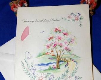 ON SALE Vintage Happy Birthday Nephew Embossed Greeting Card & Envelope 1940s 1950s Unused