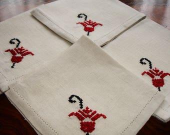"Napkins, Set of 4, Linen Napkins, Embroidered Cross stitched detailing, hemstitching, house warming, lunch napkins, 10.5"" square, Fine linen"