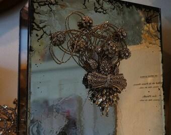 Antique mirrored jewelry box with metal French farmhouse ornate rhinestone design distressed glass keepsake home decor anita spero design