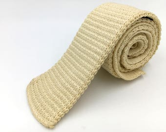 Vintage 1970s Light Yellow Cotton Square End Knit Tie by Rooster