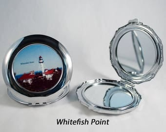 Compact Mirror, Michigan Lighthouse Design, Crisp Point, Whitefish Pt, Round Island, Mackinac, Photograph