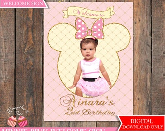 """Pink Minnie Mouse 18"""" x 24"""" Digital Welcome Sign"""