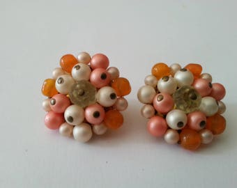 Pearl Earrings Clip On Coral White Vintage Gift for Her Birthday Summer Wedding