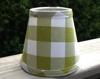 Lime olive green and white gingham chandelier lampshade large gingham check