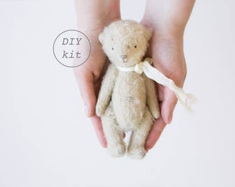Beige Mohair Teddy Bear 7 Inches DIY Kit, Sewing Kit, Craft Kit, DIY Kits For Adults, DIY Gifts For Her, Artist Teddy Bear, Soft Toys