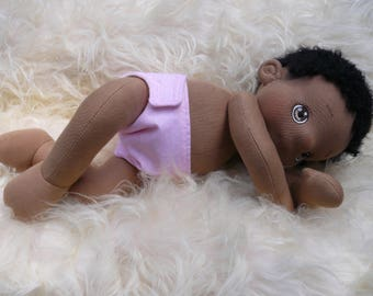 RESERVED for Sylvie! Sika, Soft Cloth Afro Baby Doll , Handmade, Waldorf inspired