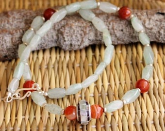 Silver necklace, faceted jade stones, Carnelian Pearl