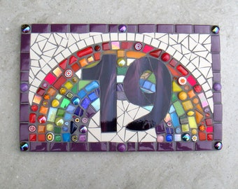 Mosaic House Number, 1, 2, 3 or 4 digits, Sign, Plaque, Street Address, Yard Art, Rainbow Number, Outdoor, Glass, door number, funky mosaics
