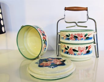 Old Enamelware Blue color Tiffin Food Carrier with Wooden handle Tiffin Lunch Box with 3 compartments Farm House Floral decoration