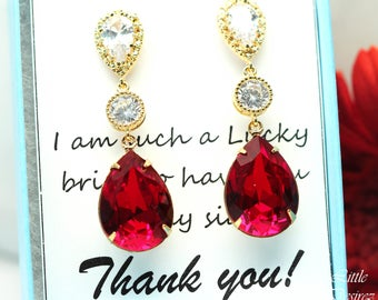Red Gold Earrings Swarovski Earrings Crystal Earrings Dark Red Earrings Crimson Earrings Dark Red Earrings Red Jewelry Sparkly SI31PC