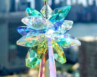 Suncatcher Swarovski Crystal Suncatcher Green Blue Decor Glass Ornament Decorative Accent Icicle Prism Rainbow Ocean Inspired Sparkly