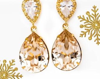 Champagne Bridal Earrings Light Silk Earrings Light Peach Sparkly Teardrop Swarovski Crystal Earrings Gold Earrings Bridesmaid Gift CH31P
