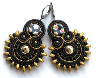 Earrings-Soutache Jewelry-OOAK-Disco
