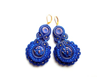 Earrings-Soutache Jewelry-OOAK Cornflower