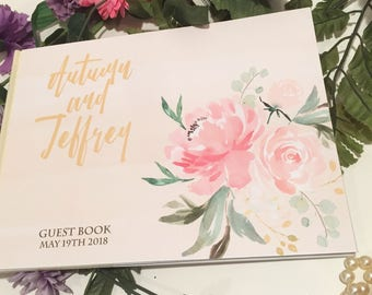 Wedding Guest Book, old fashioned, ready to go, just send your name to customize the cover.